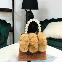 AUAU Women'S Pearl Handle Totes Handbags Rabbit Fur Bag Box Evening Bag Vintage Female Top Handle Purse Shoulder Bag