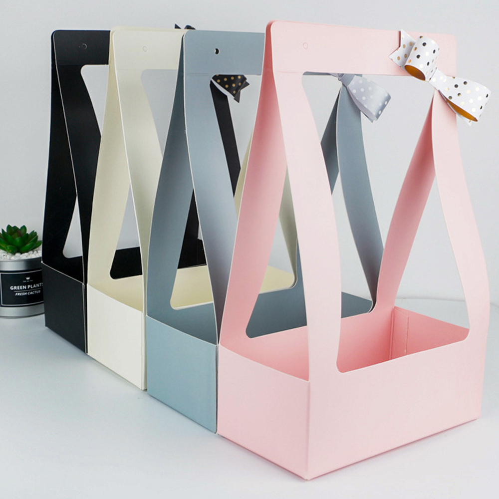 Portable Foldable Flower Box Waterproof Paper Packing Bag Florist Fresh Flower Carrier Bag Handmade Bouquet Basket Wedding Gift