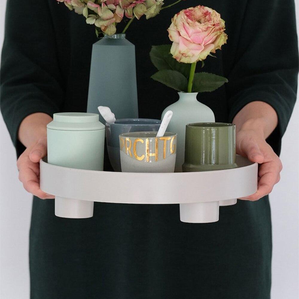 Поднос для хранения чая и еды, круглая настольная посуда для ювелирных изделий и мелочей, подходит для домашнего декора-3