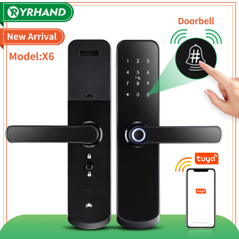 New X6 Waterproof tuya smartlife security fingerprint wifi smart door lock with door bell for Home apartment hotel