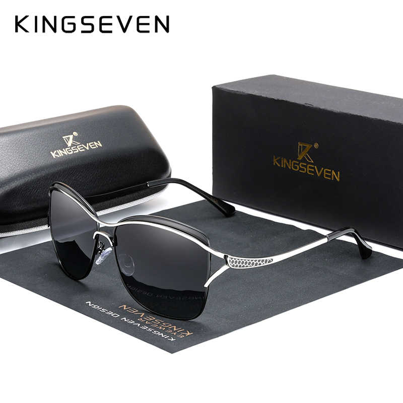 Kingseven óculos de sol feminino polarizado, óculos de sol retrô luxuoso, feminino, polarizado, lente degradê 2020