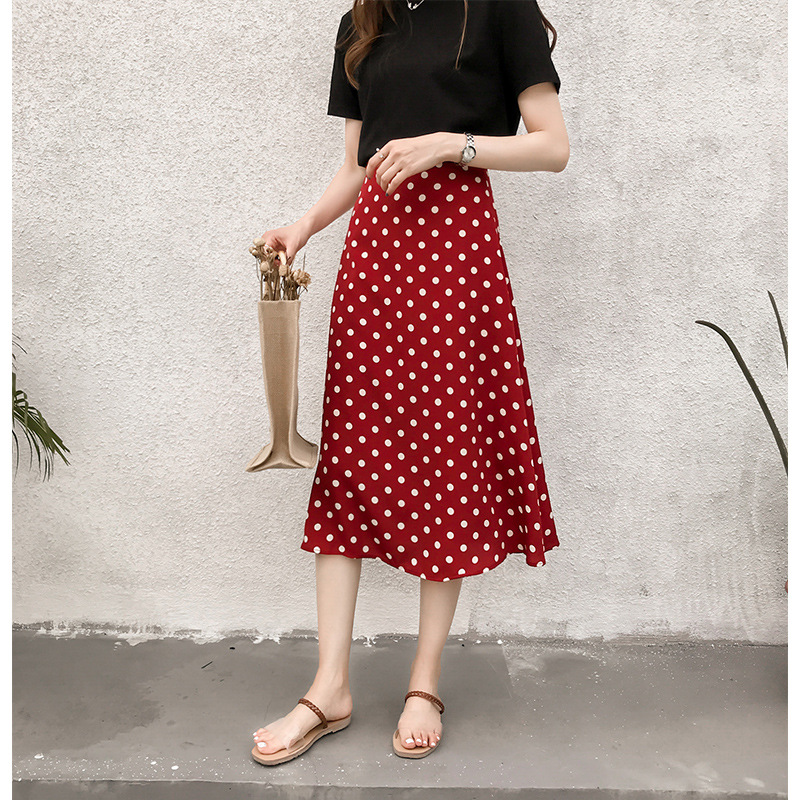 South Korea 2020 WOMEN'S Dress New Style Retro Elegant Polka Dot Chiffon Skirt Mid-length High-waisted Explicit Received A- Line
