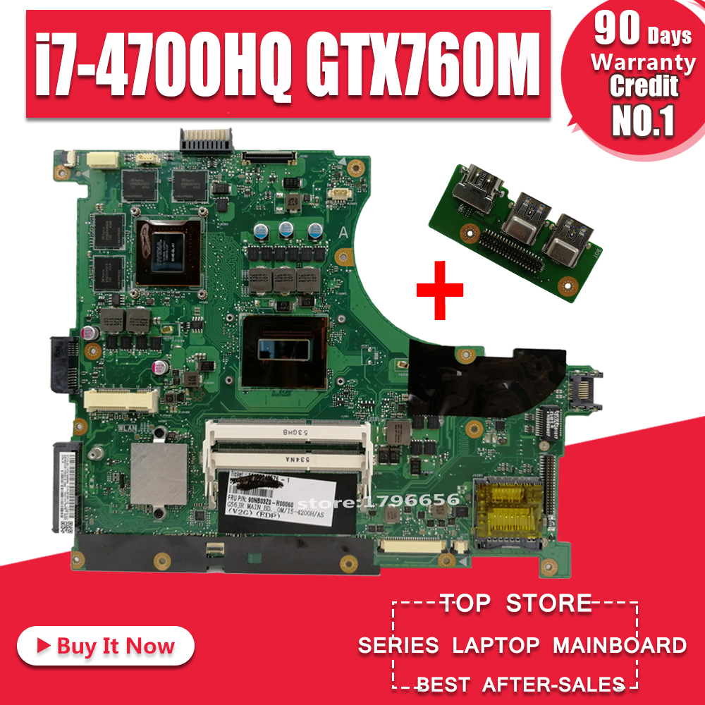 Send Board +N56JR Motherboard I7-4700HQ GTX760M For ASUS G56J N56J G56JR Laptop Motherboard N56JR Mainboard N56JR Motherboard