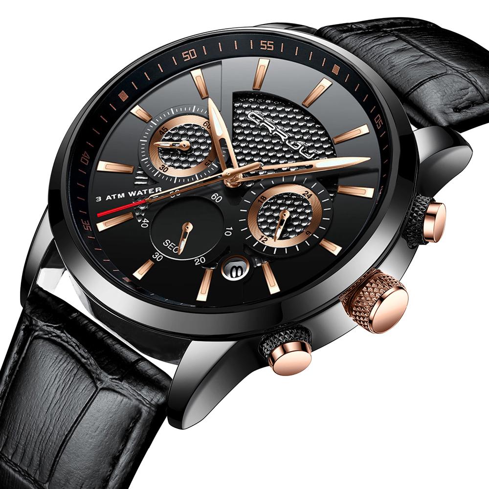 CRRJU, nuevos relojes de moda para hombre, relojes de pulsera analógicos de cuarzo, cronógrafo resistente al agua de 30M, reloj deportivo con fecha Relojes De Correa De Cuero para hombre 16