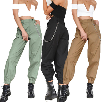 woman camo pants cargo high waist pants loose trousers joggers camouflage sweatpants streetwear Cargo Pants With Chain Punk Cool women high waist loose joggers drawstring streetwear cargo pants solid big pocket causal pants punk trousers
