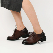 Plus Size 34-44 Genuine Leather Women Shoes High Quality Oxfords Creeper Loafers Lace-Up British Style Vintage With Casual Shoes цены онлайн