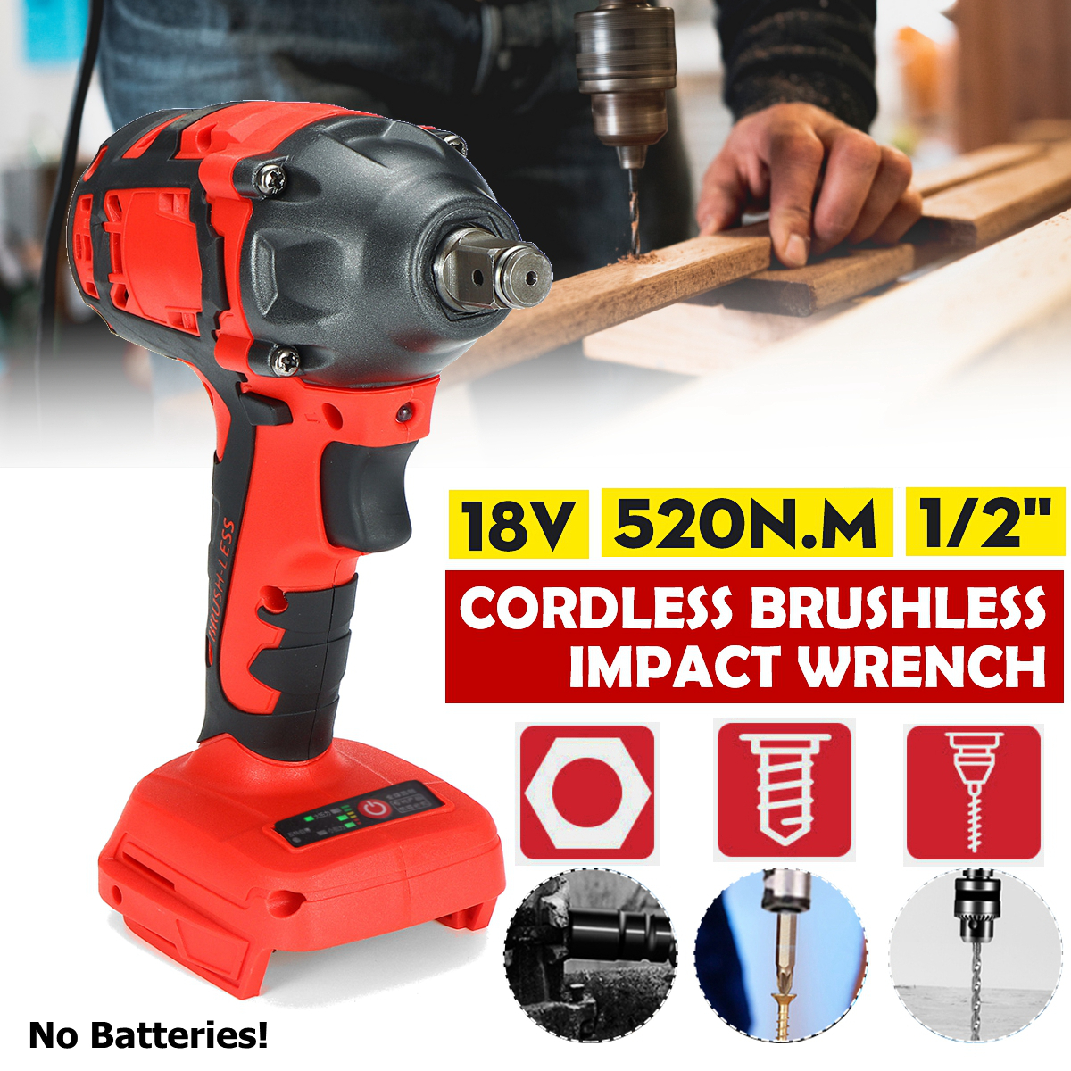 18V 520N m  Li-Ion Cordless Impact Brushless Wrench Driver 1 2Inch Electric Wrench Replacement for Makita Battery
