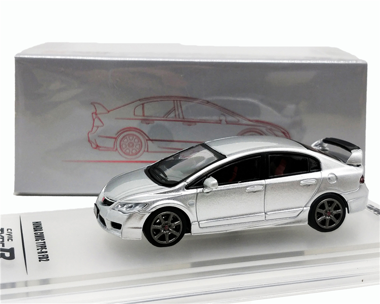 1:64 INNO64 Honda Civic FD2 2007 Silver Diecast Model Car
