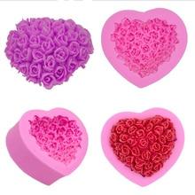 цена на New Heart Shaped Rose Bouquet Fondant Mold Cake Mould Baking DIY Silicone Appliance Fondant Tool Cake Mould Kitchen baking Tools