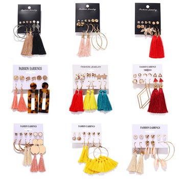 12Pairs/Set Simulated Pearl Earrings For Women Jewelry Bijoux Brincos Pendientes Mujer Fashion Stud Earrings