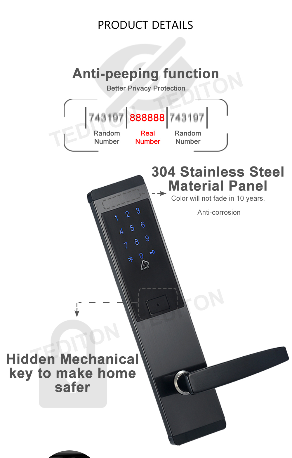 H2ae1e372787d4149a103b7f2cf7e9903W Security Electronic Digtial Lock, Keyless digital Safe Lock Door Smart Card Keypad Password Pin Code Door Lock for Smart Home