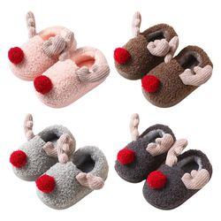 Dziecięce dziecięce śliczne świąteczne poroże klapki zimowe z pluszową wyściółką ogrzewacz do stóp