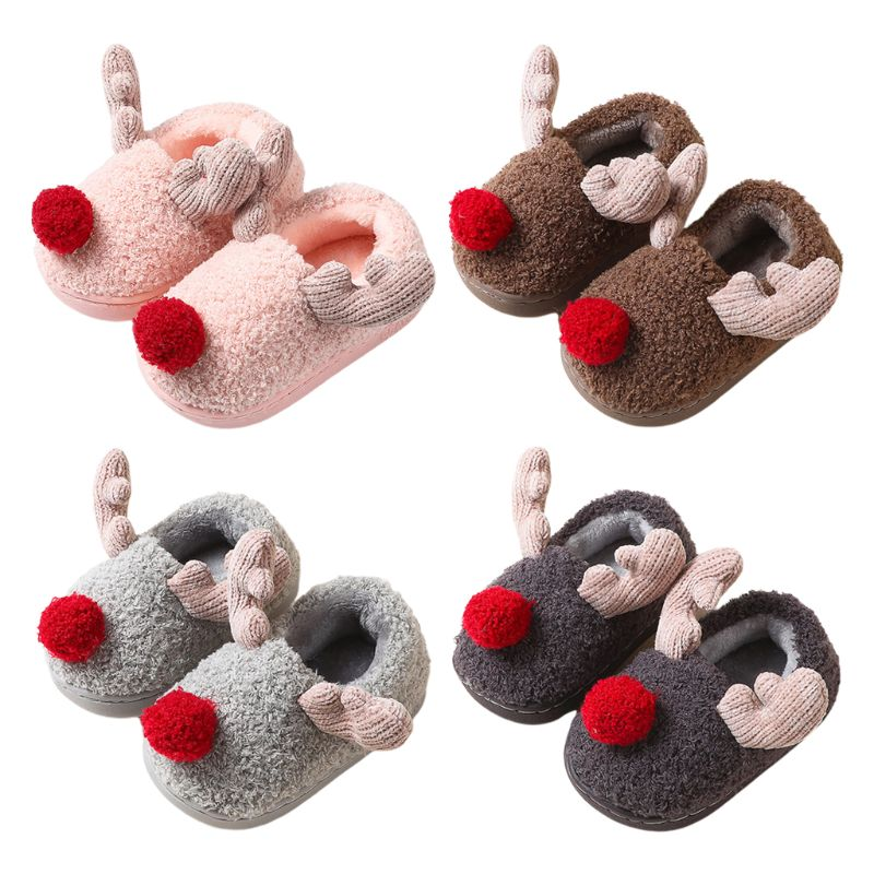 Kids Baby Cute Christmas Antlers Slippers Shoes Winter Plush Lined Foot Warmer