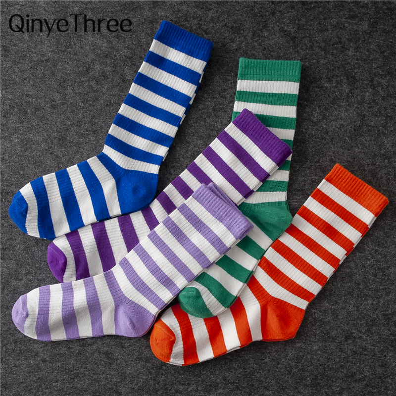 Men's Hipster Funny Crew Harajuku Colorful Stripes Cotton Socks Unisex Happy Tube Socks Novelty Gift Socks Dropship