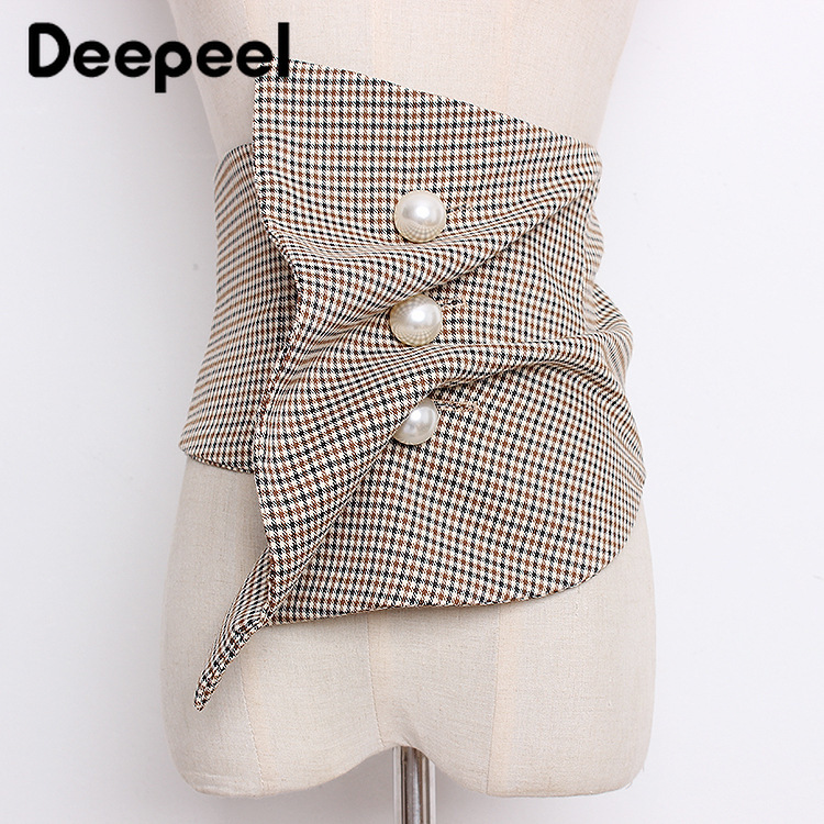 Deepeel 1pc 15-30cm*66cm Women Irregular Suit Cummerbunds Pearl Buttons Decorative Simple And Wild Wide Girdle Waist Skirt CB616