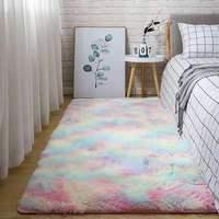Water Absorption Carpet Rugs Rainbow Carpet Tie Dyeing Plush Soft Carpets for Living Room Anti-slip Floor Mats Bedroom