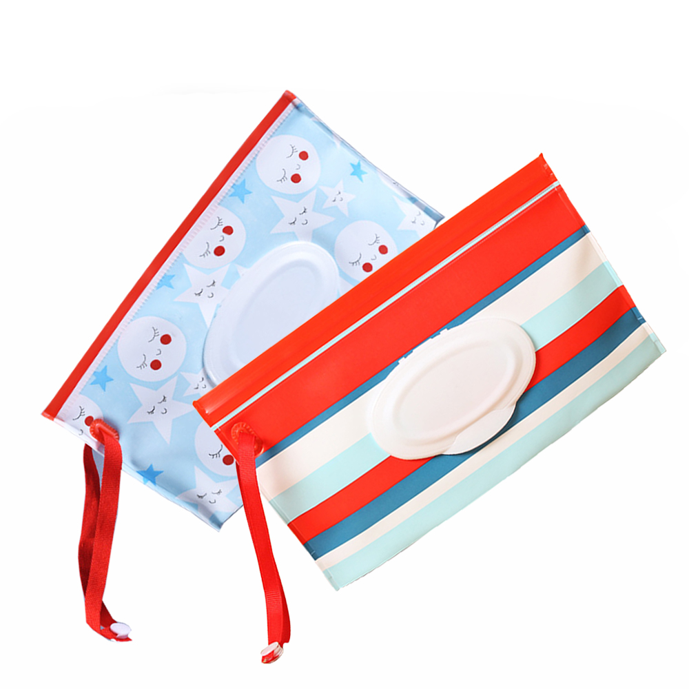 Cartoon Print Wet Wipes Bag Reusable Wet Wipes Cover Container For Wet Wipes Skin Care Travel Wipes Bag