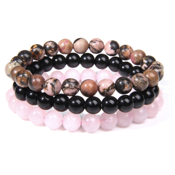 Triple Bracelet Rhodonite