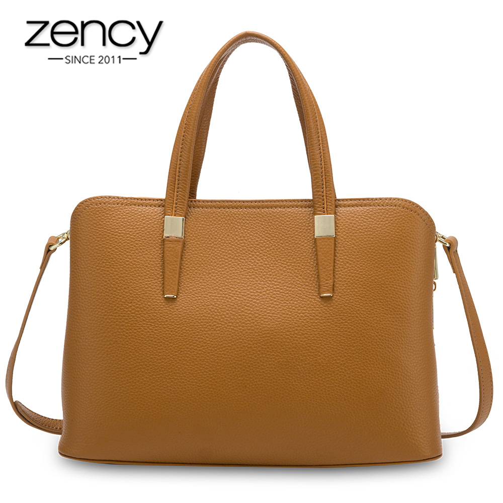 Zency Women Casual Tote Handbag 100% Genuine Leather Fashion Grey Lady Shoulder Crossbody Bag High Quality Office Bags Black