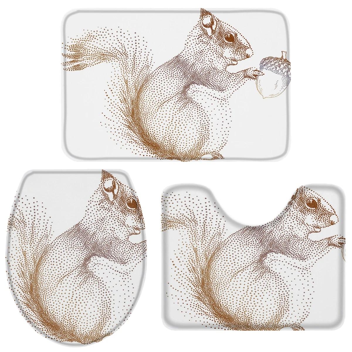 Squirrel Pine Cone Animal Polka Dot Bath Set Toilet Cover Mat Pedestal Rug Non Slip Bathroom Rug Set Bathroom Accessories Sets Aliexpress