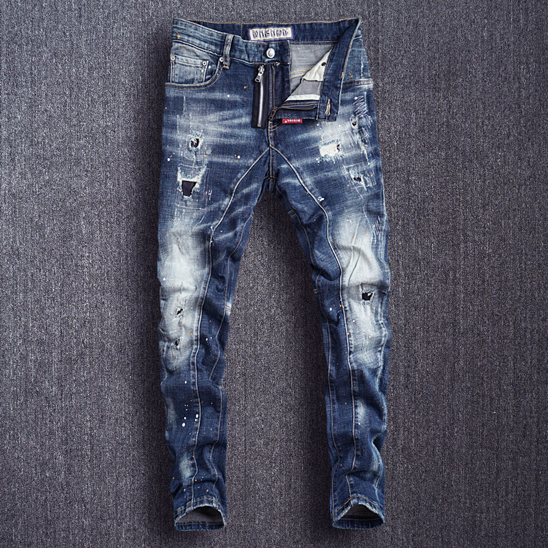 Italian Style Fashion Men Jeans Slim Fit Spliced Designer Ripped Jeans Men Punk Pants High Quality Destroyed Hip Hop Jeans