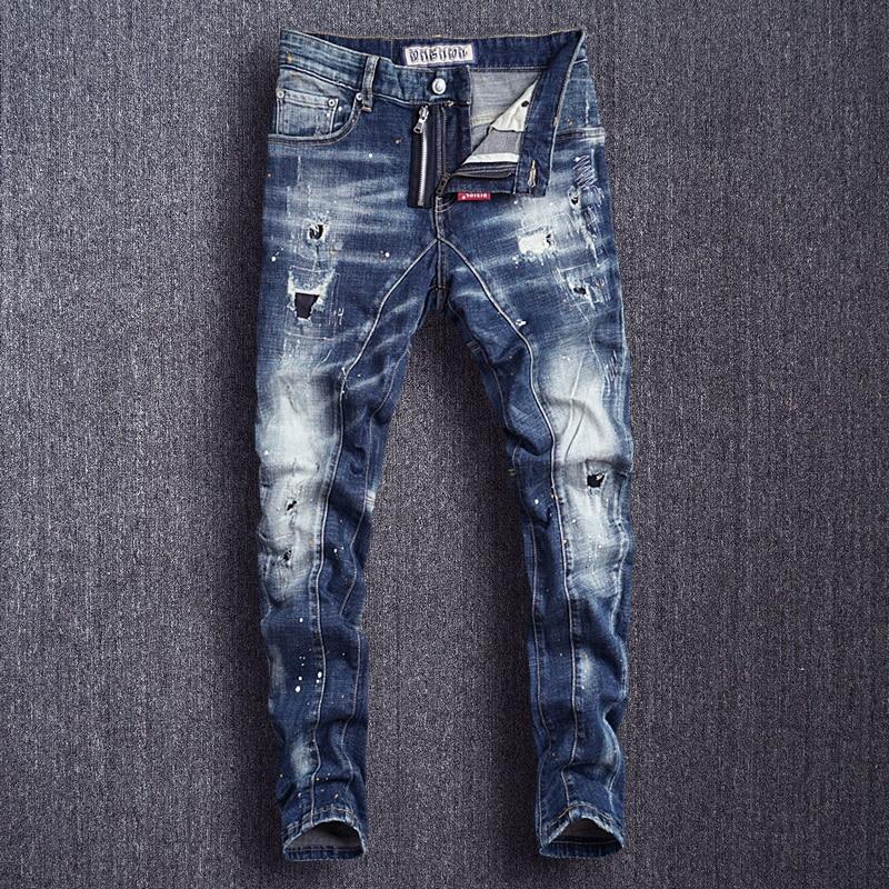 Italian Style Fashion Men Jeans Slim Fit Spliced Designer Ripped Jeans Men Punk Pants High Quality Destroyed Hip Hop Jeans
