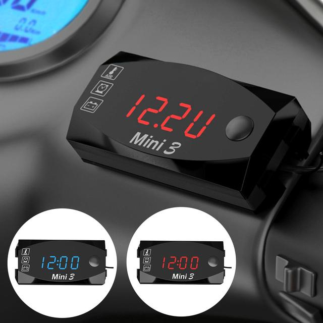3 in 1 Universal Motorcycle Electronic Clock Thermometer Voltmeter Watch Display Waterproof Car Accessories Interior