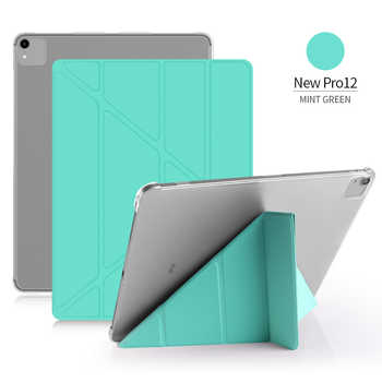 """GOLP Flip Cover for iPad Pro 12.9 case PU Leather Transparent PC Back Tablet Smart cover for iPad Pro 12.9\"""" 2020 2018 2017 2016"""