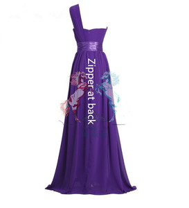 Image 5 - LLY6818BL#Chiffon Dark Blue Red Bridesmaid Dresses One shoulder Long Bride Wedding Party Toast Dress Girls Custom Free Wholesale