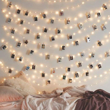 20 50 100 LED Lights + Photo Clips Hanging Pictures Fairy Lights LED Photo Clip String Lights Wall Decor USB LED String Lights