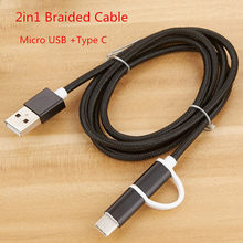2 in 1 Type c Micro USB Cable Braided Nylon Cable Fast Charging Data wire For Oppo Reno Lenovo Vibe P2 P1 K5 K3 Sony Xperia Z5(China)