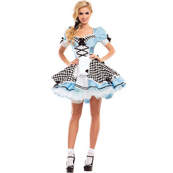 Alice In Wonderland Costume For Women Girls Alice Cosplay Costume Blue Sweet Lolita Maid fantasy halloween costumes for women umorden child kids wonderland alice costume for girls teen girl maid lolita cosplay dress halloween carnival party costumes