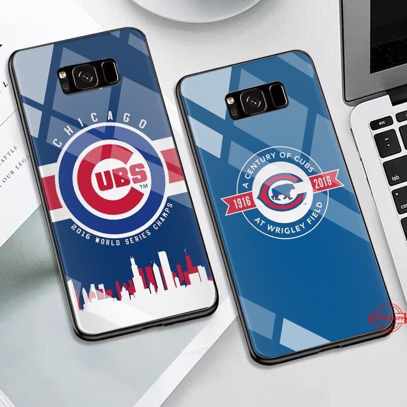 WEBBEDEPP Chicago Cubs Baseball Glass Case for Samsung S7 Edge S8 S9 S10 Plus A10 A20 A30 A40 A50 A60 A70 in Fitted Cases from Cellphones Telecommunications