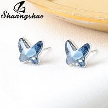 Shuangshuo na moda elegante cristal borboleta brincos de prata cor piercing brinco jóias de casamento para presente de festa feminino