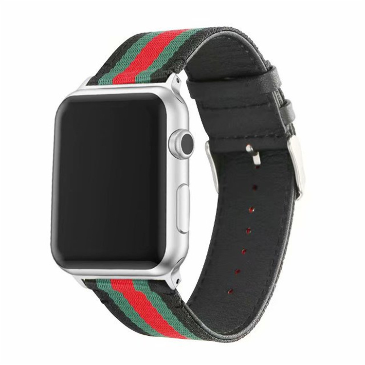 Apple Stripes Nylon Watchband Applicable APPLE Watch Series4 Canvas Leather Watch Strap 38/42 Size