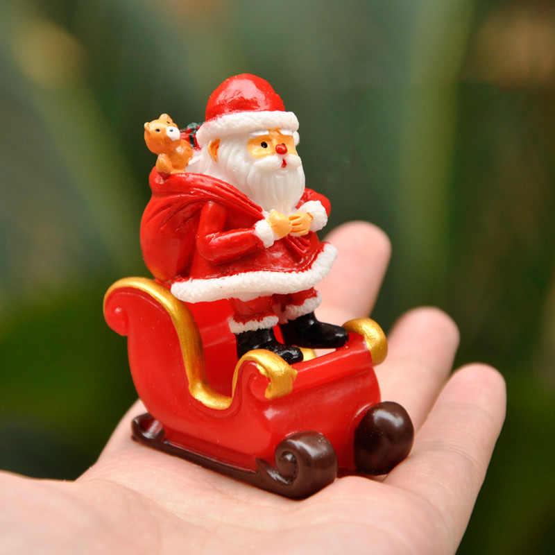 Baiupour noël modèle Miniature père noël | Cadeau de renne de traîneau, Figurines de Terrarium, décor de jardin de fée, modèle de paysage de neige