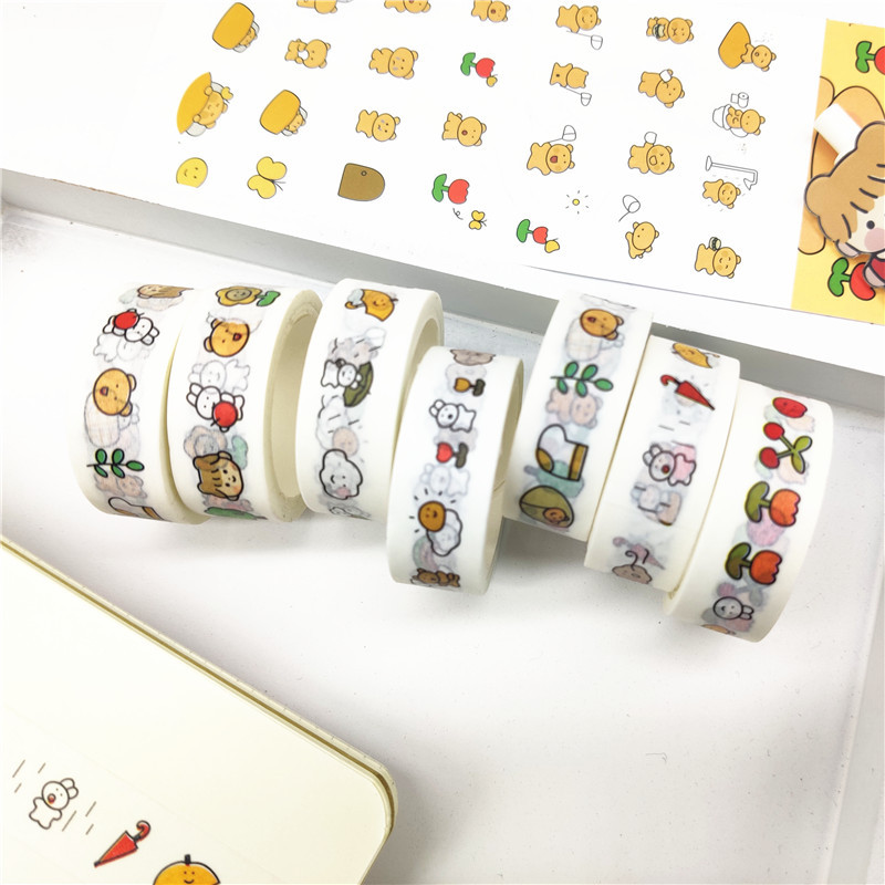 Cute Girl Flower Rainbow Washi Tape Decorative Adhesive Tape Masking Tape For Stickers Scrapbooking DIY Stationery Tape