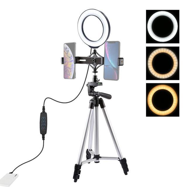PULUZ Stativ Montieren + Live übertragung Dual Telefon Halterung + 6,2 zoll 16cm LED Ring Vlogging Video Licht Kits live Broadcast Kits