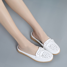 2020 solid women sandals summer slippers flip flops Genuine Leather flat sandals ladies slip on flats clogs shoes woman loafers 2017 summer clogs for women lovers sandals cut outs shoes woman slip on flats casual slippers women flip flops for ladies