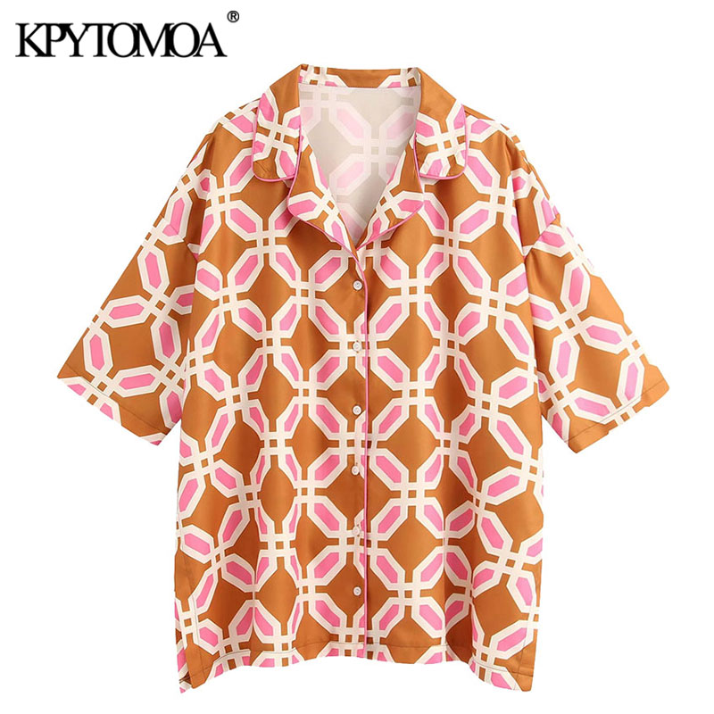 KPYTOMOA Women 2020 Fashion Geometric Printed Loose Blouses Vintage Lapel Collar Short Sleeve Side Vents Female Shirts Chic Tops