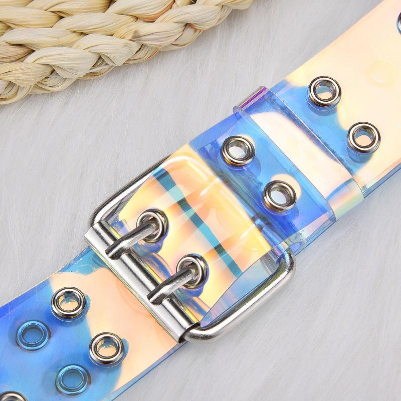Women Fashion Laser Holographic Punk Waist Belt Pin Buckle Rainbow Waistband New