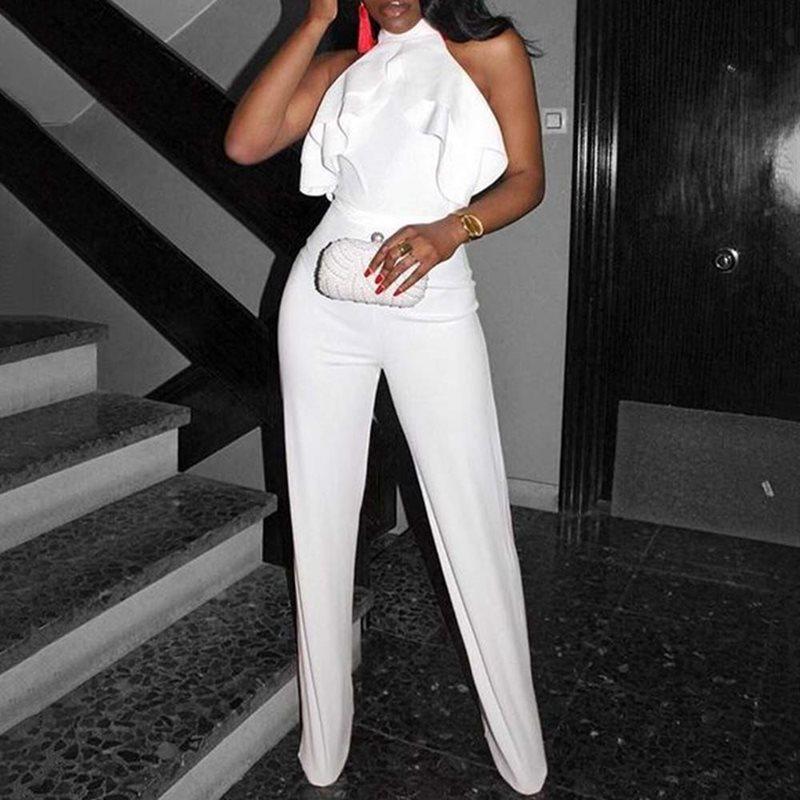 Office Lady Full Length Plain Slim Straight Jumpsuit 2019 Women Plus Size Casual Ruffle High Waist White Long Jumpsuit