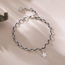 ANENJERY 925 en argent Sterling mode rétro étoile pendentif Bracelet avec une petite boule de perles pour les femmes bijoux S-B378