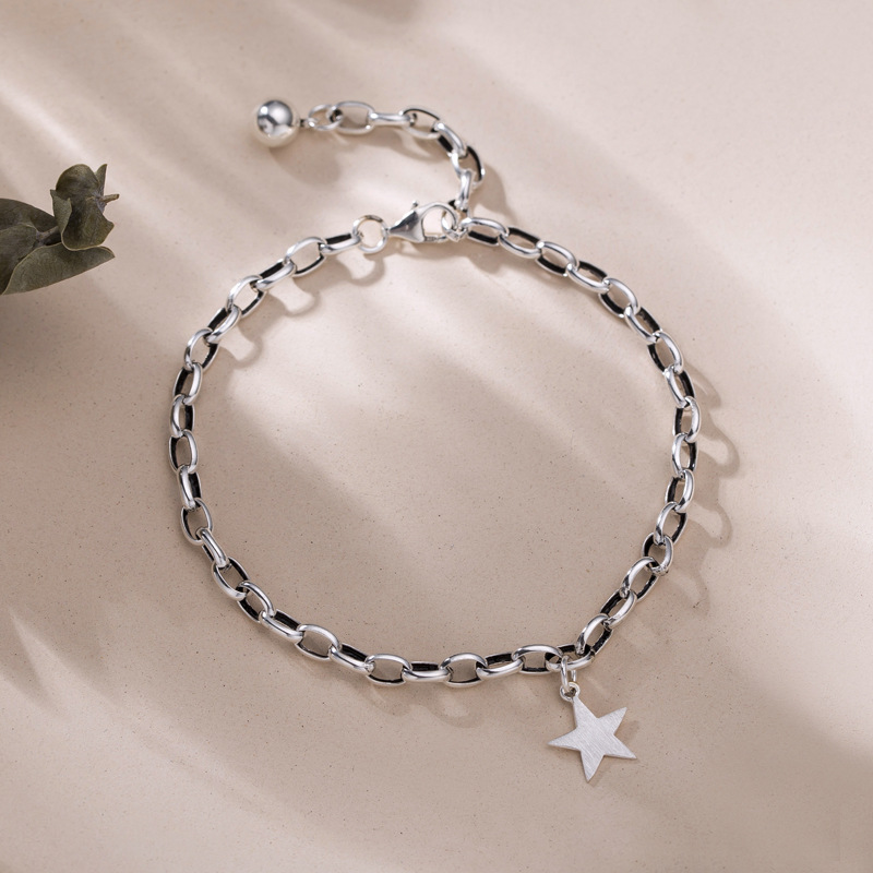 ANENJERY-pulsera con colgante de estrella Retro para mujer, de Plata de Ley 925, con bola pequeña, joyería S-B378