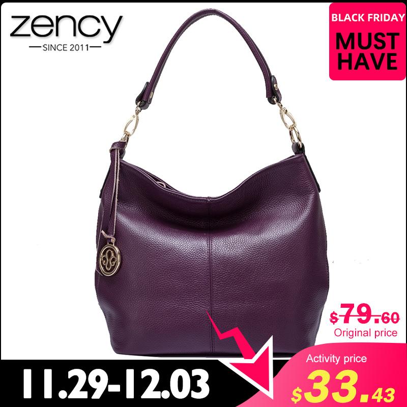 Zency Charm Purple Women Shoulder Bag 100% Genuine Leather Hobos Fashion Lady Messenger Crossbody Purse Elegant Female Handbag