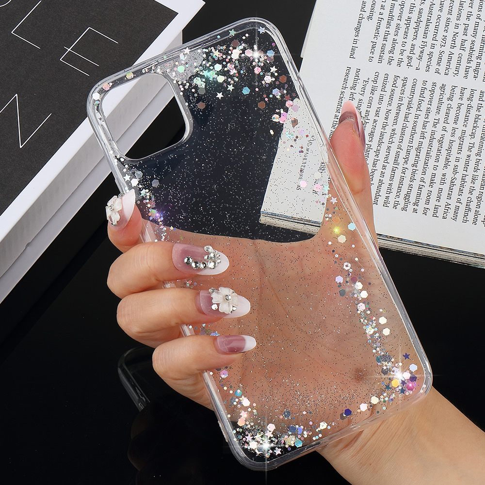 Bling Sequins Stars Case For Samsung Galaxy S20 Ultra S7 Edge S8 S9 Plus S10e Glitter Silicon Soft Transparent Back Cover Coque