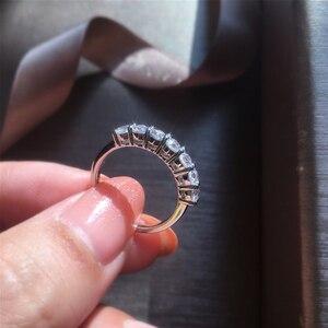 Image 2 - Anillo romántico de plata 925, joyería de moissanita, anillo de aniversario de fiesta de boda de corte excelente redondo
