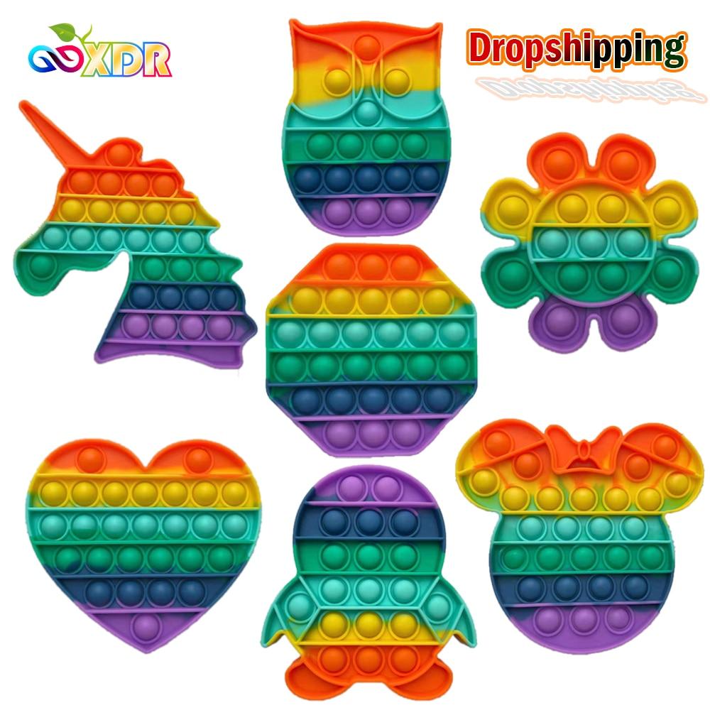 Pop Zappeln Reliver Stress Spielzeug Regenbogen Push Es Blase Anti-Stress-Spielzeug Erwachsene Kinder Sensorischen Spielzeug Zu Entlasten Autismus Versand Kostenloser