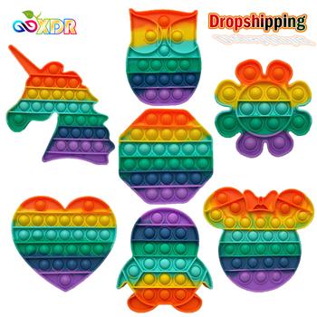 Pop Fidget reliever stres zabawki Rainbow Push It Bubble zabawki antystresowe dorosłe dzieci zabawka sensoryczna aby złagodzić autyzm wysyłka za darmo tanie i dobre opinie CN (pochodzenie) Pop Pop Bubble Push It Fidget Stress Relief Toys Soft Silicone Fidget Toys Urodzenia ~ 24 Miesięcy 8 ~ 13 Lat