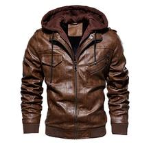 Jacket Hooded-Coats Bomber Motorcycle Windbreaker Men's Men Winter Casual Slim-Fit Warm